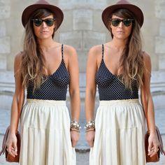 #stealthelook #look #looks #streetstyle #streetchic #moda #fashion #style #estilo #inspiration #bodysuit #maiô #spot #satchel #Polkadot #bolinha #saia #chapeu #marrom