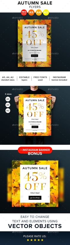 Autumn Sale Flyers and Posters  — PSD Template #inspiration #poster #clear • Download ➝ https://graphicriver.net/item/autumn-sale-flyers-and-posters/18622541?ref=pxcr