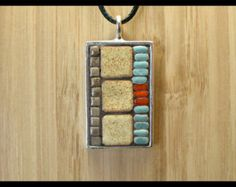 Mosaic Jewelry, Mosaic Pendant, Mosaic Necklace, Mosaic Art, Wearable Art, Pewter