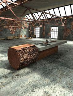Baumstamm Küche aus massivem Eichenholz   DerTypvonNebenan.de