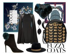 """""""Fuzzy Hype"""" by jaihnt ❤ liked on Polyvore featuring Astrid Sarkissian, Jimmy Choo, Karl Lagerfeld, Gucci, Janessa Leone and Cara Mila"""
