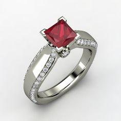 Princess Ruby 14K White Gold Ring with Diamond