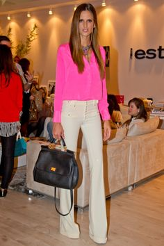 neon pink and trousers