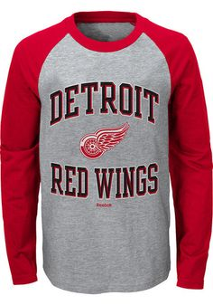 NHL Detroit Red Wings Perennial Long Sleeve Crew Jersey Shirt Top Youth Kids