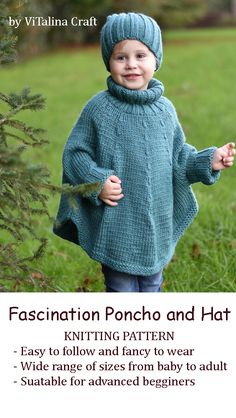 Poncho for children and adults Knitting pattern. Fascination Poncho and Hat Set is stylish and super cosy clothing for you and yo Knitting Needles, Knitting Yarn, Knitting Patterns, Thick Yarn, Knit In The Round, Types Of Yarn, Stockinette, Couture, Stitch Markers