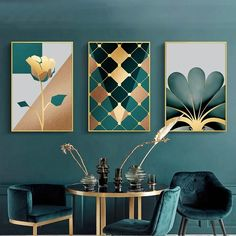 Gallery Wall Trio of Green & Gold Artworks Art Print as part of a Gallery Wall collection from Gallery Wallrus. wall Gallery Wall Trio of Green & Gold Artworks Arte Art Deco, Interiores Art Deco, Gold Walls, Gold Painted Walls, Gold Art, Gold Wall Art, Wall Art Decor, Art Deco Wall Art, Gold Wall Decor