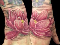 pink lotus tattoo by Gavin Steele in Newtown, Powys, Mid-Wales, Uk