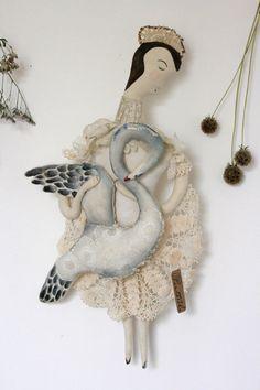 Santa Ana de cisnes-ooak textil arte escultura blanda muñeca
