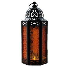 Purple Glass Moroccan Style Candle Lantern - Great for Patio, Indoors/Outdoors, Events, Parties and Weddings ...