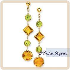 Hermosos aretes de colgar con piedra citrina en sus dos hermosos tonos, para una ocasión especial!