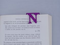 Bookmark Monogram. Initial / Letter  N  in Purple Strong & Flexible Polished