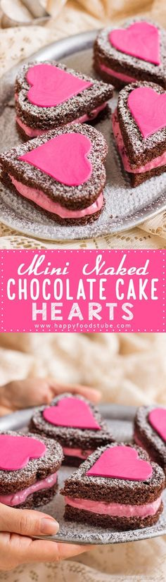 Mini Naked Chocolate Cake Hearts are perfect for Valentine's Day. Red wine chocolate cake with berry filling & decorated with fondant hearts. #valentines #chocolate #cake #recipe #valentinesday #love #dessert #romantic via @happyfoodstube