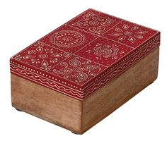 """Bulk Wholesale Handmade 6"""" Wooden Rectangular Jewelry Box in Red & Natural-Wood Color with Old-World Cone-Painting Art in Traditional-Look Motifs – Ethnic-Look Boxes from India"""