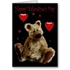 Happy Valentines Day Teddy Bear with Hearts Greeting Card - #zazzle