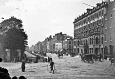Penny Farthing Image by National Library of Ireland on The Commons Not sure if we've seen St. Stephen's Green in Dublin from this angle before. Dublin Street, Dublin City, Old Pictures, Old Photos, Vintage Photographs, Vintage Photos, Shelbourne Hotel, Michael Church, Penny Farthing