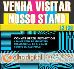 https://flic.kr/p/wJQ36X | convite eletronico brazilpromotion | Venha nos Visitar, tome um cafezinho conosco !! Estaremos no Transamérica Expo Center de 4 a 6 de Agosto, com muitas novidades! Brazilpromotion 2015 / Feira de Marketing Promocional - Stand 136 L 2
