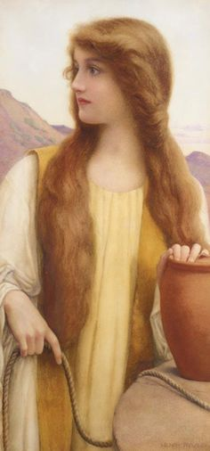 Henry Ryland, (1856-1924), Rachel at the Well. - Beautiful, though I doubt this is what she looked like.