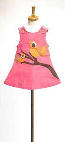 Pink A-Line Dress with Autumn Birds Felt Applique. $48