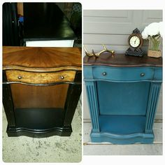 Annie Sloan Aubusson blue with clear wax and black wax aging