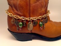 Boot Bracelet. Big brass charm with green beads by McIversRevivers, $30.00