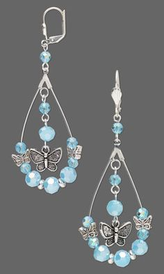 "Earrings with Celestial Crystal® Beads, Antiqued Silver-Finished ""Pewter"" Charms and Beads and Silver-Plated Brass Beads"