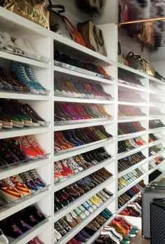 Sir Elton John and David Furnish's shoe closet (yes, it is just for shoes—and maybe the occasional bag).