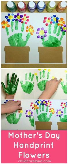 Cute Handprint and Footprint Crafts - Princess Pinky GirlUse thumbs to make a flower canvas thing.Cute handprint crafts for kids! This makes a great gift for Mother's Day!Handprint and footprint crafts are SO adorable! I think that we can all agree that a Daycare Crafts, Baby Crafts, Crafts To Do, Infant Crafts, Wood Crafts, Spring Activities, Preschool Activities, Day Care Activities, Spring Crafts