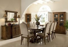 Willis and Gambier at their finest. A beautiful dining set. Upholstered Dining Chairs, Dining Furniture, Dining Set, Dining Table, Dark Wood, Home Kitchens, Mirror, Pedestal, Home Decor