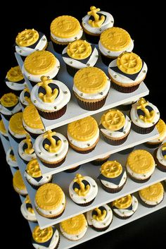 Navy Cupcake Tower- so cute!!!