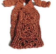 Crochet Headband, Metalic Copper Orange, Boho Knit Hairband in Soft Acrylic Yarn