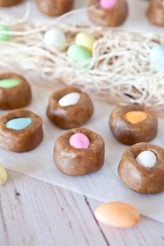 """Egg""-in-a-Nest Stuffed Peanut Butter Cookie Dough Bites. Stuffed with Candy-Coated Almonds. No-Bake, Vegan, GF, 10 mins to make."