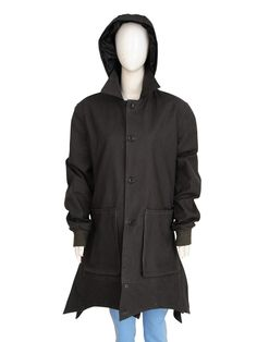 Color: Greyish Black Material: Cotton Front: Botton Style Closure Pockets: Two Waists & Inside Collar: Shirt Style Along Hoodie Sleeves: Full-Length Rib Long Coats, Elizabeth Olsen, Avengers Infinity War, Scarlet, Trench, Shirt Style, Raincoat, Hoodies, Sleeves