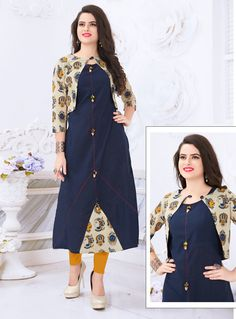 Navy Blue Cotton Readymade Kurti With Koti 136 333 Kurti Sleeves Design, Kurta Neck Design, Churidar Designs, Kurta Designs Women, Dress Neck Designs, Blouse Designs, Indian Designer Outfits, Designer Dresses, Kalamkari Dresses
