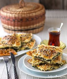 A Middle Eastern Classic: Spinach and Feta Cheese Borek.