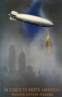 "(""In 2 Days to North America!"" Deutsche Zeppelin-Reederei) - 'Famous' Original Vintage Deco Travel Poster, Graphic and Illustration by Jupp Wiertz - Germany). Poster Art, Art Deco Posters, Vintage Advertisements, Vintage Ads, Travel Ads, Travel Photos, Art Graphique, Advertising Poster, Vintage Travel Posters"