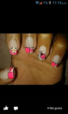 Uñas Beauty Spa, Beauty Nails, Love Nails, Fun Nails, French Nail Art, Acrylic Gel, Nail Envy, Cute Nail Art, Beautiful Nail Designs