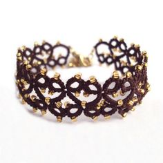 Steampunk-braun, Gold Tatted Armband - Lillian - einstellbar