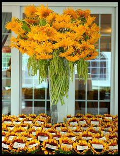 sunflowers | escort card display