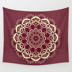 Burgundy Gold Mandala Tapestry Cranberry Wall by DesignbyJuliaBars