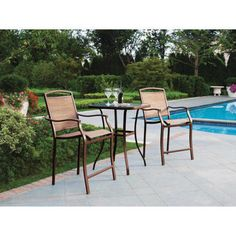Gentil High Chairs Bistro Bar Set Patio Pool Deck Metal Frame Glass Table Top  Furniture