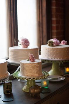 Love the idea of having a few smaller cakes versus the one traditional cake. I love the different details and textures of these cakes and the beautiful peonies on top!