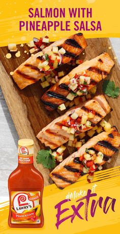 This sweet and tangy grilled salmon recipe is simple, delicious and ready in 25 minutes! Fresh pineapple salsa and a simple splash of Lawry's Hawaiian Marinade will give your dinner a tropical flavor this summer. Fish Recipes, Seafood Recipes, Low Carb Recipes, New Recipes, Dinner Recipes, Cooking Recipes, Favorite Recipes, Healthy Recipes, Tilapia Recipes