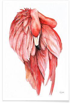 Pink Flamingo 2 als Premium poster door Karolina Kijak | JUNIQE