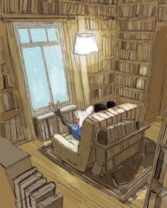 Readers by Pascal Campion Art And Illustration, I Love Books, Books To Read, Pascal Campion, Reading Art, Photo Images, World Of Books, Book Nooks, Book Nerd