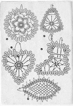 Handmade-kursy ,wzory ,tutoriale: Crochet Christmas decorations Szydełkowe ozdoby choinkowe-schematy