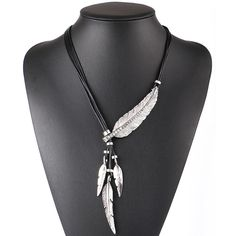 Feather Pendants Rope Necklace