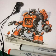 March of Robots Sketches by Nitro Browsing through the results of March of Robots , the annual month-long drawing challenge on Ins. Copic Marker Art, Copic Art, Robot Concept Art, Robot Art, Robot Sketch, Sketch Art, Character Concept, Character Design, Graffiti Doodles