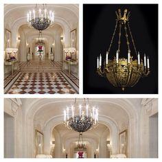Heuvelmans Interiors gilt bronze chandelier Empire style ref.CHAND.907 at the lobby of 5 star hotel Shangri-La Paris France