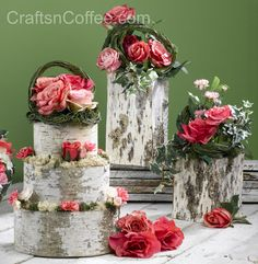 "Create beautiful, DIY wedding décor: ""Bake"" a Birch Bark Centerpiece Cake"