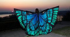 Hand painted wings made to order. Unique handmade wings in your colors This is really high on my when I get lots of money list Butterfly Costume, Butterfly Wings, Butterfly Dress, Butterfly Design, Blue Butterfly, Cosplay, Belly Dance Costumes, Fantasy, Silk Painting